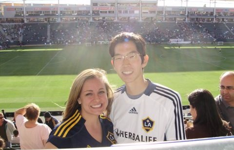 wife and I at an LA Galaxy game